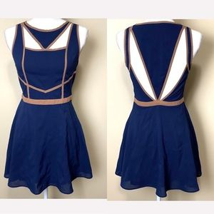 Navy Brown Cut Out Fit n Flare Medium Mini Dress